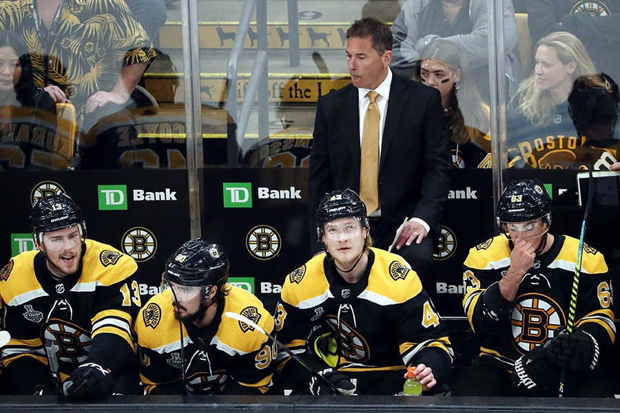 Head coach Bruce Cassidy of the Boston Bruins looks on against the St. Louis Blues during the first period in Game One of the 2019 NHL Stanley Cup Final at TD Garden on May 27, 2019 in Boston, Massachusetts. (Photo by Patrick Smith/Getty Images)
