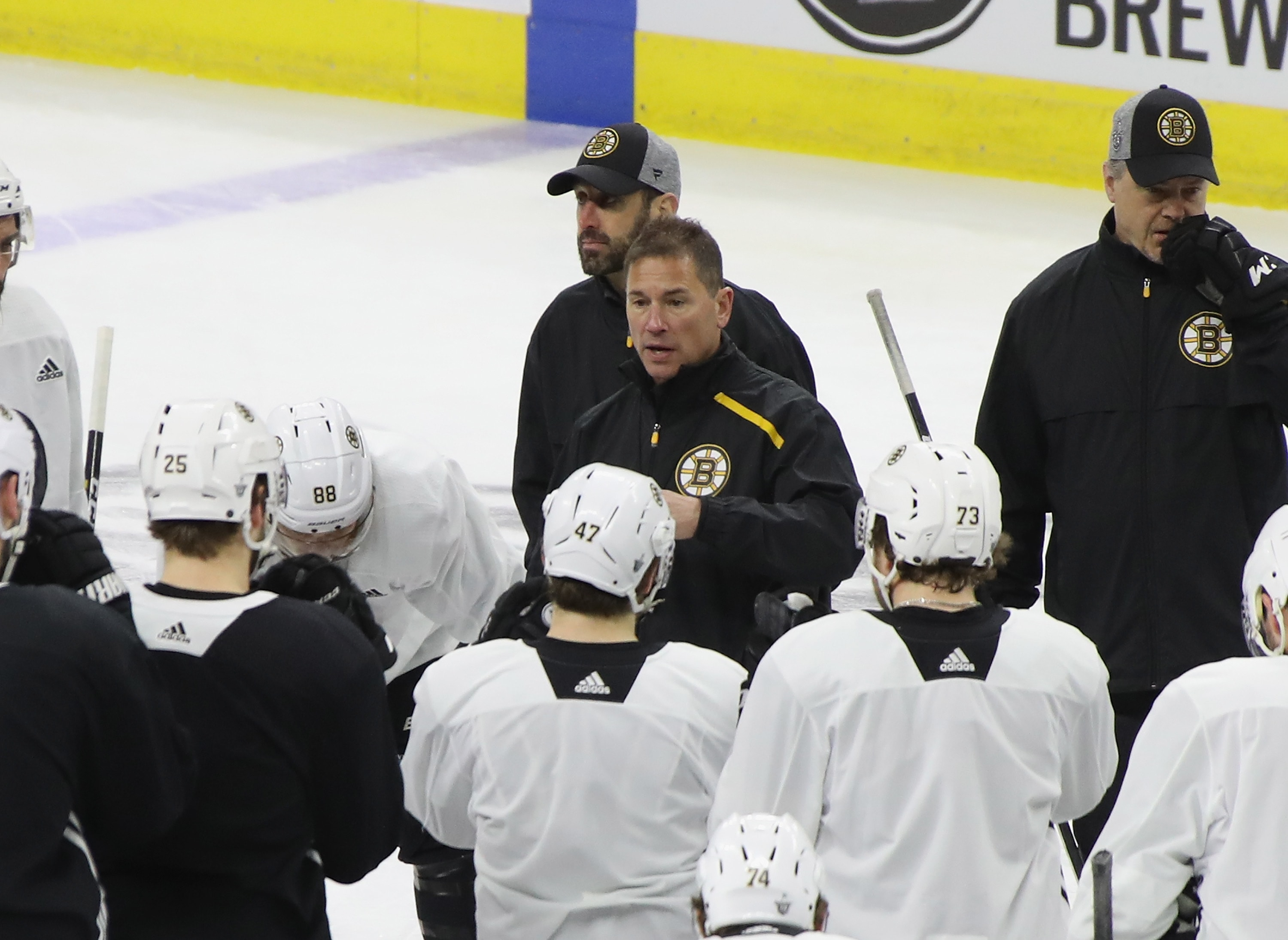 Head coach Bruce Cassidy of the Boston Bruins handles the morning skate prior to Game 3 of the Eastern Conference Final during the 2019 NHL Stanley Cup Playoffs at the PNC Bank Arena on May 14, 2019 in Raleigh, North Carolina. (Photo by Bruce Bennett/Getty Images)