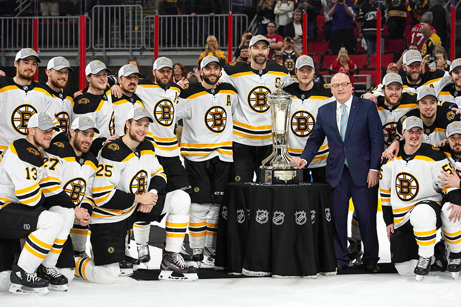 May 16, 2019; Raleigh, NC: Boston Bruins players celebrate with the Prince of Wales trophy and NHL deputy commissioner Bill Daly after defeating the Carolina Hurricanes in game four of the Eastern Conference Final of the 2019 Stanley Cup Playoffs at PNC Arena. The Boston Bruins defeated the Carolina Hurricanes 4-0. (James Guillory-USA TODAY Sports)