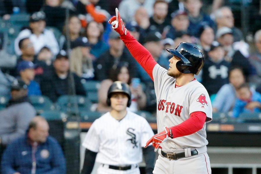 May 4, 2019; Chicago, IL: Boston Red Sox third baseman Michael Chavis reacts after hitting a home run against the Chicago White Sox during the third inning at Guaranteed Rate Field. (Jon Durr-USA TODAY Sports)