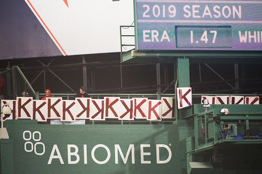 "Seventeen ""K"" signs are hung up in the eighth inning for Chris Sale's (not pictured) of the Boston Red Sox career high strikeouts against the Colorado Rockies at Fenway Park on May 14, 2019 in Boston, Massachusetts. (Photo by Kathryn Riley /Getty Images)"