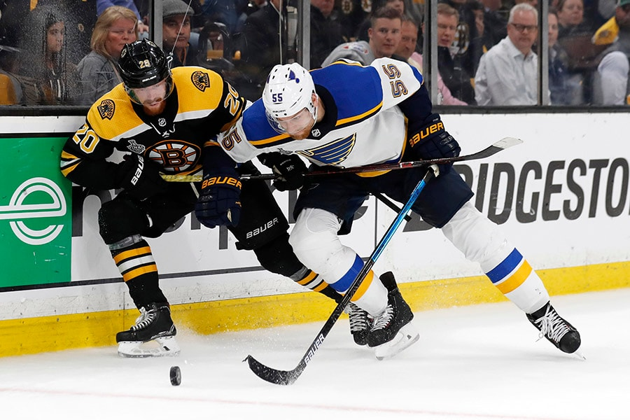 May 29, 2019; Boston, MA: Boston Bruins center Joakim Nordstrom battles for the puck with St. Louis Blues defenseman Colton Parayko in the third period in Game 2 of the 2019 Stanley Cup Final at TD Garden. (Winslow Townson-USA TODAY Sports)