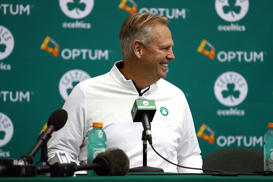 General manager Danny Ainge of the Boston Celtics speaks with the media during Boston Celtics Media Day on September 26, 2016 in Waltham, Massachusetts. (Photo by Tim Bradbury/Getty Images)