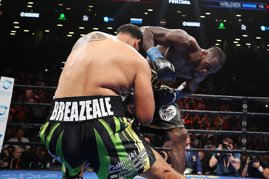 Deontay Wilder knocks out Dominic Breazeale in the first round during their bout for Wilder's WBC heavyweight title at Barclays Center on May 18, 2019 in New York City. (Photo by Al Bello/Getty Images)