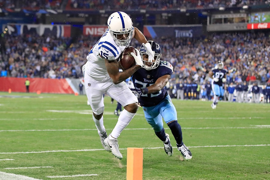 Dontrelle Inman of the Indianapolis Colts runs with the ball against the Tennessee Titans at Nissan Stadium on December 30, 2018 in Nashville, Tennessee. (Photo by Andy Lyons/Getty Images)