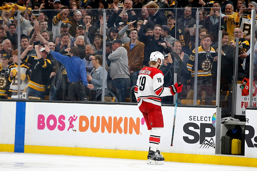 May 9, 2019; Boston, MA: Carolina Hurricanes defenseman Dougie Hamilton skates to the penalty box during the third period in Game 1 of the Eastern Conference Final of the 2019 Stanley Cup Playoffs against the Boston Bruins at TD Garden. (Greg M. Cooper-USA TODAY Sports)