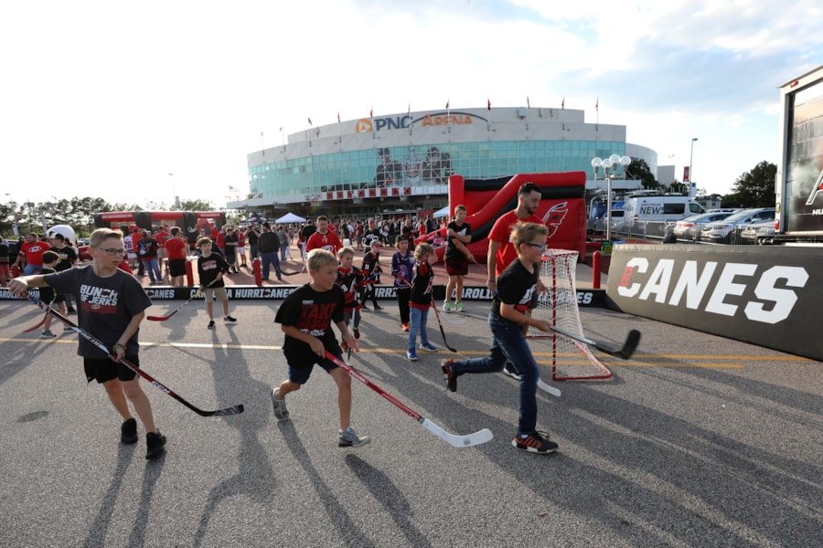 RALEIGH, NORTH CAROLINA - MAY 14: Carolina Hurricanes fans gather outside of the arena prior to Game Three between the Boston Bruins and the Carolina Hurricanes in the Eastern Conference Finals during the 2019 NHL Stanley Cup Playoffs at PNC Arena on May 14, 2019 in Raleigh, North Carolina. (Photo by Bruce Bennett/Getty Images)
