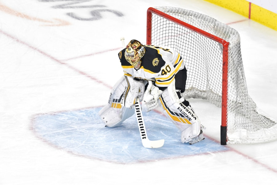 RALEIGH, NORTH CAROLINA - MAY 16: Tuukka Rask #40 of the Boston Bruins looks on during warm ups prior to Game Four against the Carolina Hurricanes in the Eastern Conference Finals during the 2019 NHL Stanley Cup Playoffs at PNC Arena on May 16, 2019 in Raleigh, North Carolina. (Photo by Grant Halverson/Getty Images)