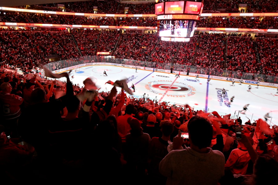 RALEIGH, NORTH CAROLINA - MAY 16: Carolina Hurricanes fans cheer prior to Game Four between the Boston Bruins and the Carolina Hurricanes in the Eastern Conference Finals during the 2019 NHL Stanley Cup Playoffs at PNC Arena on May 16, 2019 in Raleigh, North Carolina. (Photo by Grant Halverson/Getty Images)