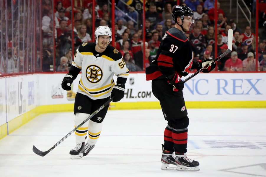 RALEIGH, NORTH CAROLINA - MAY 16: Noel Acciari #55 of the Boston Bruins looks on against Andrei Svechnikov #37 of the Carolina Hurricanes during the first period in Game Four of the Eastern Conference Finals during the 2019 NHL Stanley Cup Playoffs at PNC Arena on May 16, 2019 in Raleigh, North Carolina. (Photo by Bruce Bennett/Getty Images)