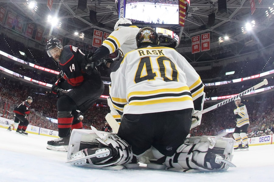 RALEIGH, NORTH CAROLINA - MAY 16: Tuukka Rask #40 of the Boston Bruins tends goal against the Carolina Hurricanes during the second period in Game Four of the Eastern Conference Finals during the 2019 NHL Stanley Cup Playoffs at PNC Arena on May 16, 2019 in Raleigh, North Carolina. (Photo by Bruce Bennett/Getty Images)