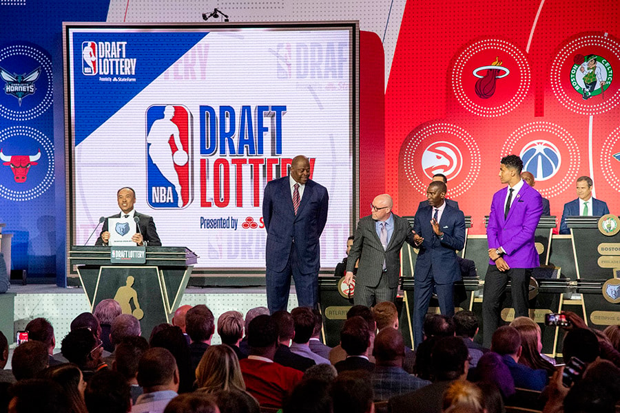 May 14, 2019; Chicago, IL: NBA deputy commissioner Mark Tatum reveals the number two pick for the Memphis Grizzlies during the 2019 NBA Draft Lottery at the Hilton Chicago. (Patrick Gorski-USA TODAY Sports)