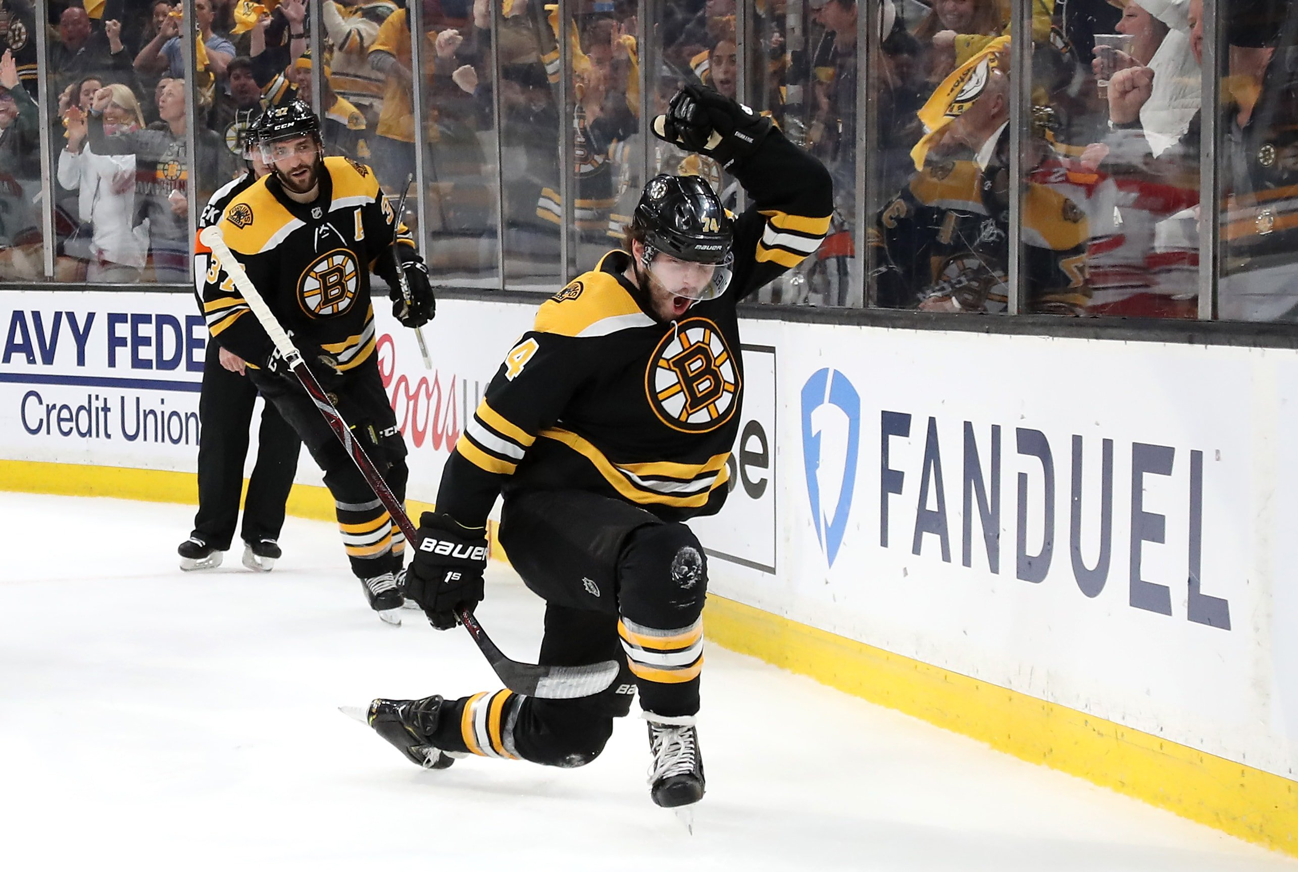 Jake DeBrusk of the Boston Bruins celebrates scoring a first period goal against the Carolina Hurricanes in Game 2 of the Eastern Conference Final during the 2019 NHL Stanley Cup Playoffs at TD Garden on May 12, 2019 in Boston, Massachusetts. (Photo by Bruce Bennett/Getty Images)