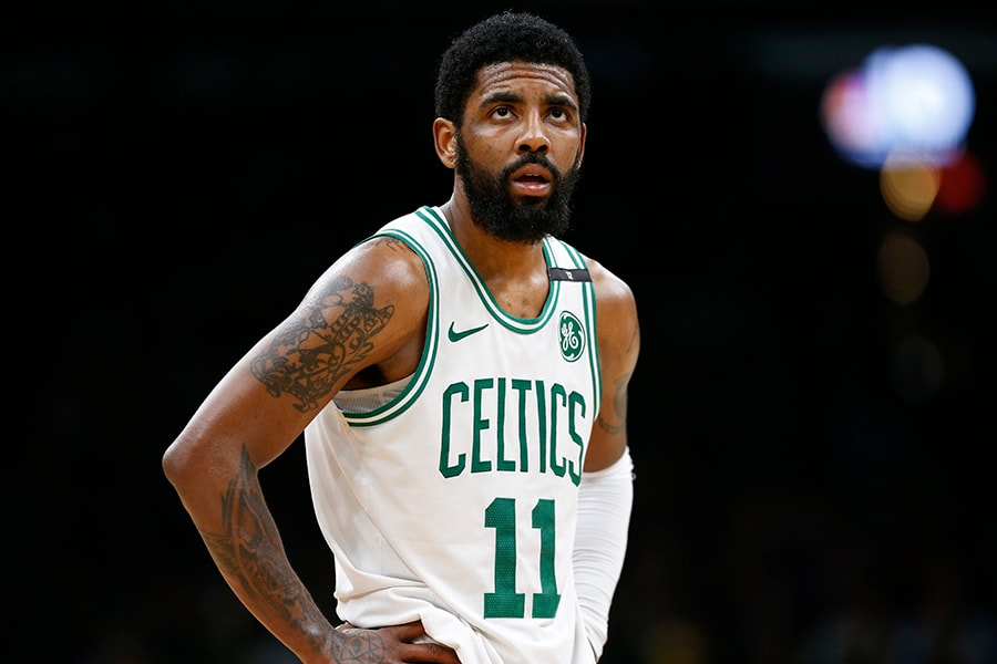 May 6, 2019; Boston, MA: Boston Celtics guard Kyrie Irving reacts during the second half in Game 4 of the second round of the 2019 NBA Playoffs against the Milwaukee Bucks at TD Garden. (Greg M. Cooper-USA TODAY Sports)