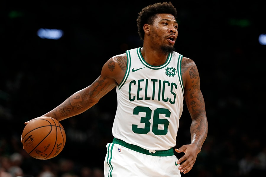 Mar 29, 2019; Boston, MA: Boston Celtics guard Marcus Smart controls the ball against the Indiana Pacers in the second half at TD Garden. Celtics defaced the Pacers 114-112. (David Butler II-USA TODAY Sports)