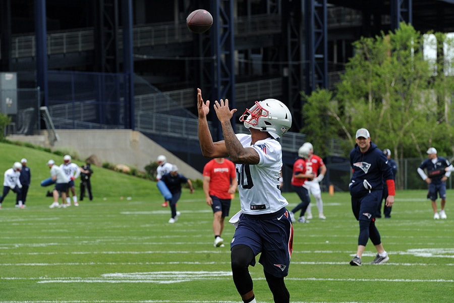 May 23, 2019; Foxborough, MA: New England Patriots wide receiver N'Keal Harry catches a pass during organized team activities at Gillette Stadium practice field. (Bob DeChiara-USA TODAY Sports)