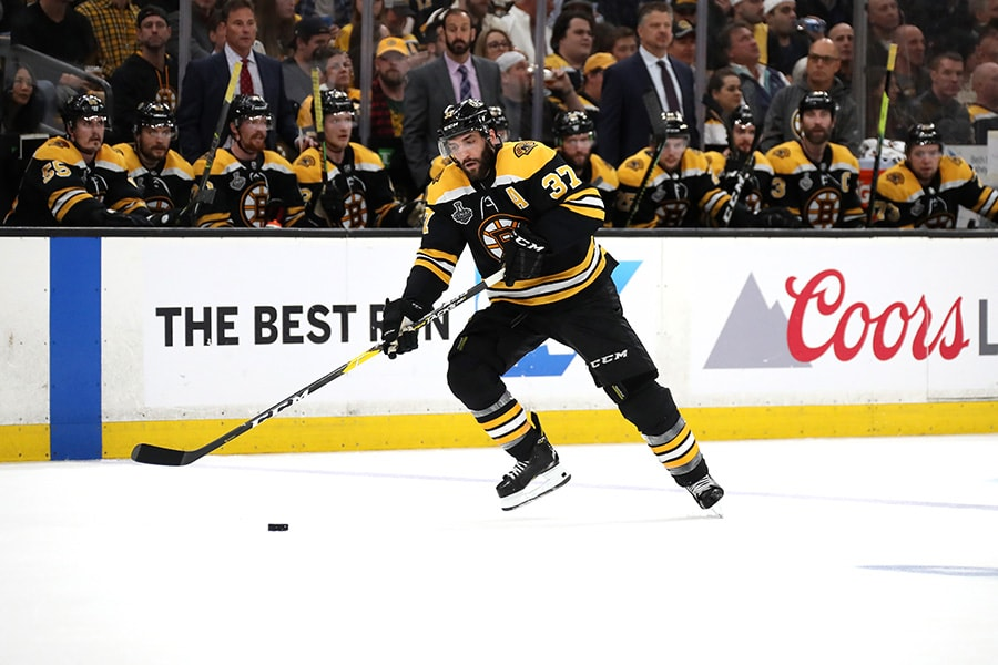 Patrice Bergeron of the Boston Bruins in action against the St. Louis Blues in Game 2 of the 2019 NHL Stanley Cup Final at TD Garden on May 29, 2019 in Boston, Massachusetts. (Photo by Bruce Bennett/Getty Images)