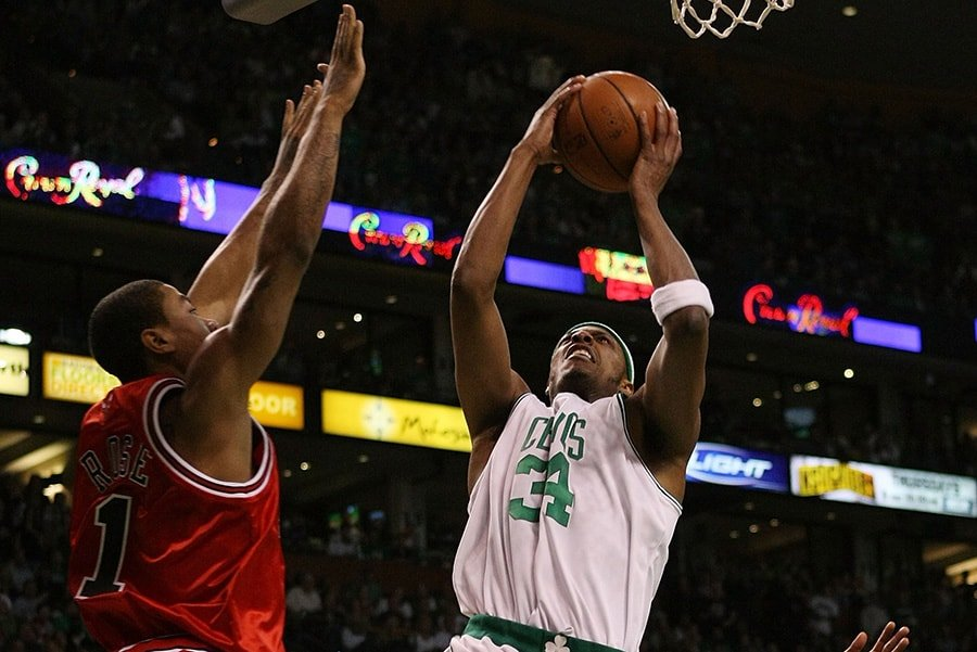 c2d95d3a5799 Paul Pierce of the Boston Celtics takes a shot as Derrick Rose of the Chicago  Bulls