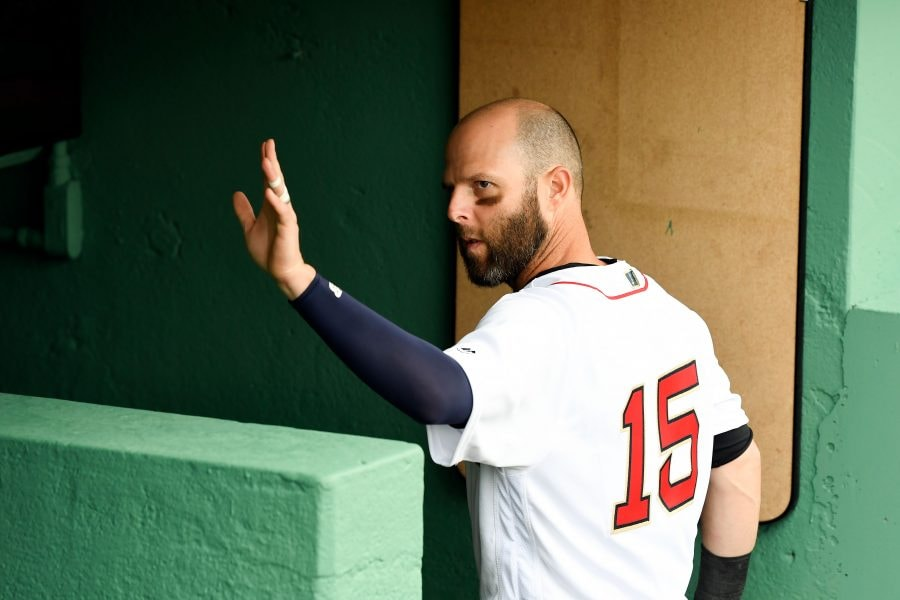 Apr 9, 2019; Boston, MA: Boston Red Sox second baseman Dustin Pedroia waves to fans after batting practice before a game against the Toronto Blue Jays at Fenway Park. (Brian Fluharty-USA TODAY Sports)