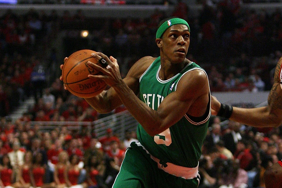 bfd5e59f72aa Rajon Rondo of the Boston Celtics drives to the basket against the Chicago  Bulls in Game