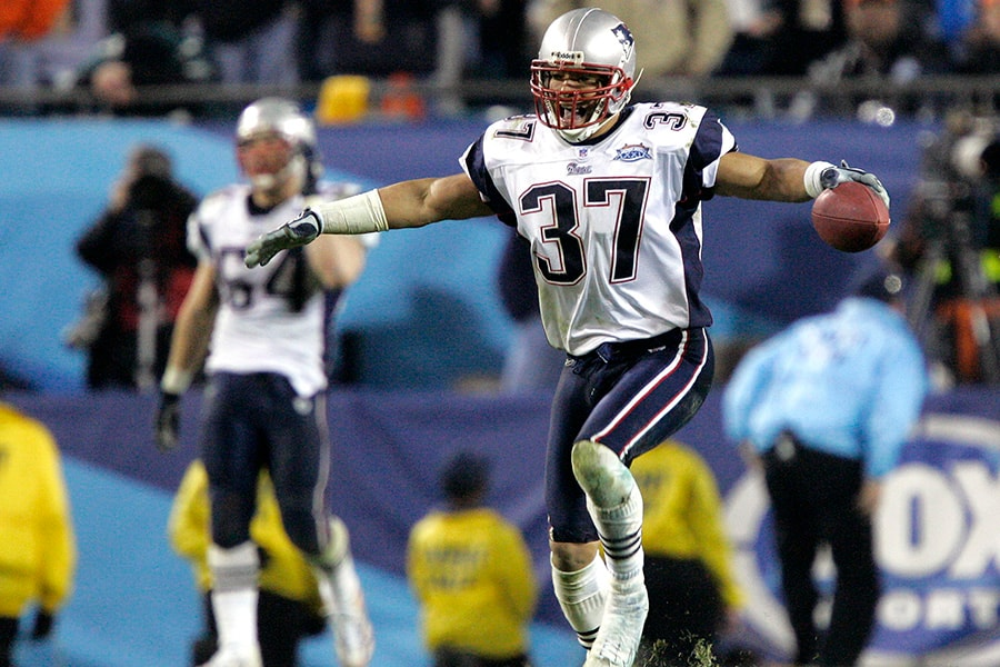 Rodney Harrison of the New England Patriots celebrates after defeating the Philadelphia Eagles in Super Bowl XXXIX at Alltel Stadium on February 6, 2005 in Jacksonville, Florida. The Patriots defeated the Eagles 24-21. (Photo by Brian Bahr/Getty Images)
