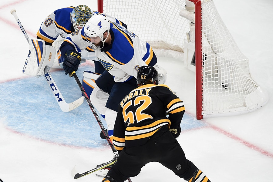 May 27, 2019; Boston, MA: Boston Bruins center Sean Kuraly scores on St. Louis Blues goaltender Jordan Binnington during the third period in Game 1 of the 2019 Stanley Cup Final at TD Garden. (Bob DeChiara-USA TODAY Sports)