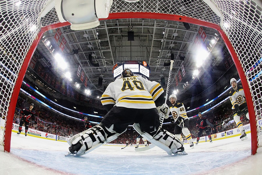 Tuukka Rask of the Boston Bruins skates against the Carolina Hurricanes in Game 4 of the Eastern Conference Final during the 2019 NHL Stanley Cup Playoffs at the PNC Arena on May 16, 2019 in Raleigh, North Carolina. The Bruins shut out the Hurricanes 4-0 to sweep the series and move on to the Stanley Cup Finals. (Photo by Bruce Bennett/Getty Images)