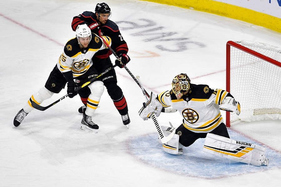 Tuukka Rask of the Boston Bruins makes a save against the Carolina Hurricanes during the first period in Game 3 of the Eastern Conference Finals during the 2019 NHL Stanley Cup Playoffs at PNC Arena on May 14, 2019 in Raleigh, North Carolina. (Photo by Grant Halverson/Getty Images)