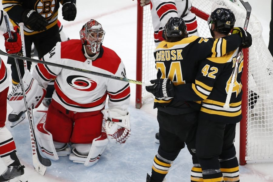 May 12, 2019; Boston, MA: Boston Bruins right wing David Backes celebrates with Boston Bruins left wing Jake DeBrusk after scoring a goal on Carolina Hurricanes goaltender Petr Mrazek during the third period in Game 2 of the Eastern Conference Final of the 2019 Stanley Cup Playoffs at TD Garden. (Greg M. Cooper-USA TODAY Sports)