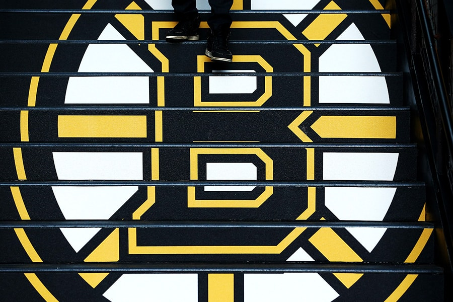 A detail of the Boston Bruins logo prior to Game One of the Eastern Conference Final during the 2019 NHL Stanley Cup Playoffs at TD Garden on May 09, 2019 in Boston, Massachusetts. (Photo by Adam Glanzman/Getty Images)