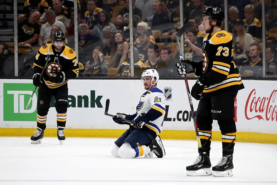Zach Sanford of the St. Louis Blues reacts against the Boston Bruins during the third period in Game 7 of the 2019 NHL Stanley Cup Final at TD Garden on June 12, 2019 in Boston, Massachusetts. (Photo by Bruce Bennett/Getty Images)