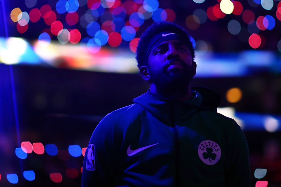 Kyrie Irving of the Boston Celtics looks on before a game against the Philadelphia 76ers at TD Garden on October 16, 2018 in Boston, Massachusetts. (Photo by Adam Glanzman/Getty Images)