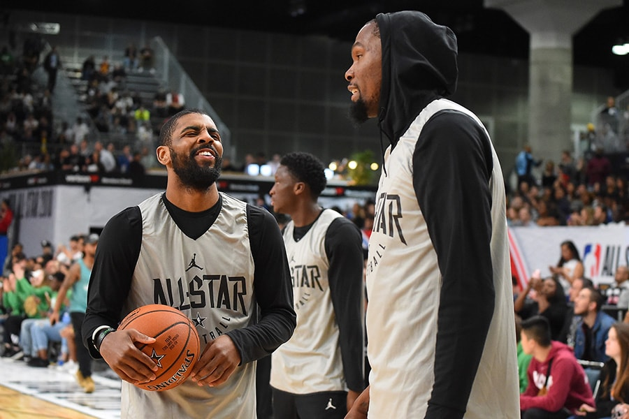 Kyrie Irving and Kevin Durant of Team LaBron laugh during practice for the 2018 NBA All-Star game at the Verizon Up Arena at LACC on February 17, 2018 in Los Angeles, California. (Photo by Jayne Kamin-Oncea/Getty Images)