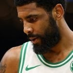 Kyrie Irving of the Boston Celtics looks on during the third quarter of the NBA game at TD Garden on April 17, 2019 in Boston, Massachusetts. (Photo by Maddie Meyer/Getty Images)