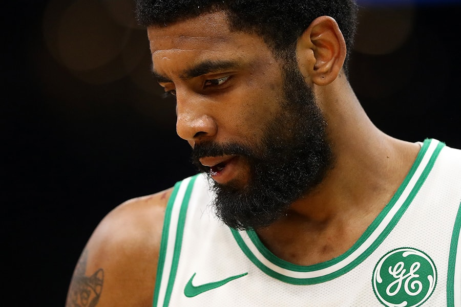 Kyrie Irving of the Boston Celtics looks on during the third quarter at TD Garden on April 17, 2019 in Boston, Massachusetts. (Photo by Maddie Meyer/Getty Images)