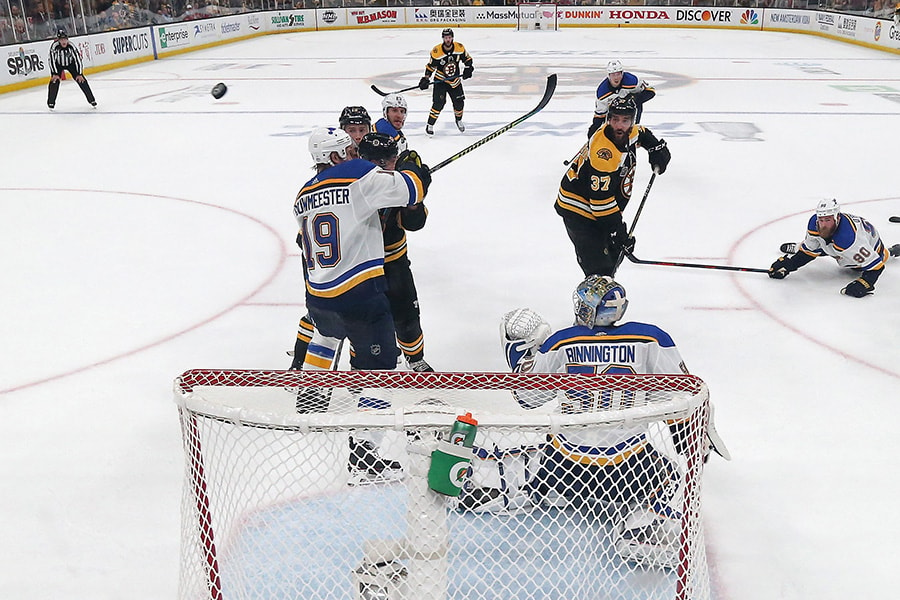 Jordan Binnington of the St. Louis Blues tends net against the Boston Bruins during the third period in Game 5 of the 2019 NHL Stanley Cup Final at TD Garden on June 06, 2019 in Boston, Massachusetts. (Photo by Bruce Bennett/Getty Images)