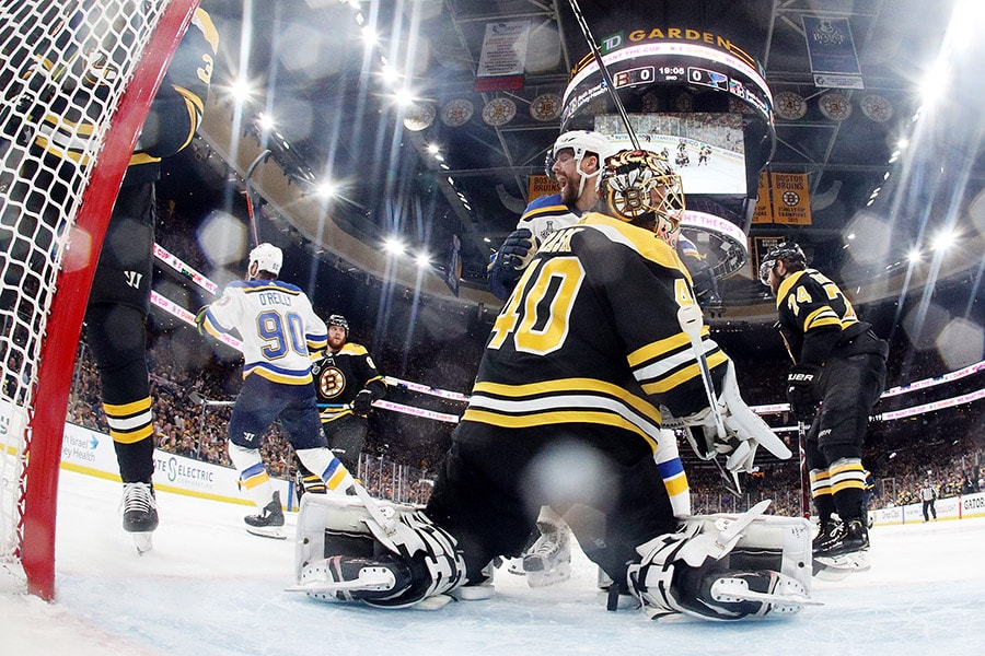 Tuukka Rask of the Boston Bruins reacts after he allows a second period goal to Ryan O'Reilly (not pictured) of the St. Louis Blues in Game 5 of the 2019 NHL Stanley Cup Final at TD Garden on June 06, 2019 in Boston, Massachusetts. (Photo by Bruce Bennett/Getty Images)
