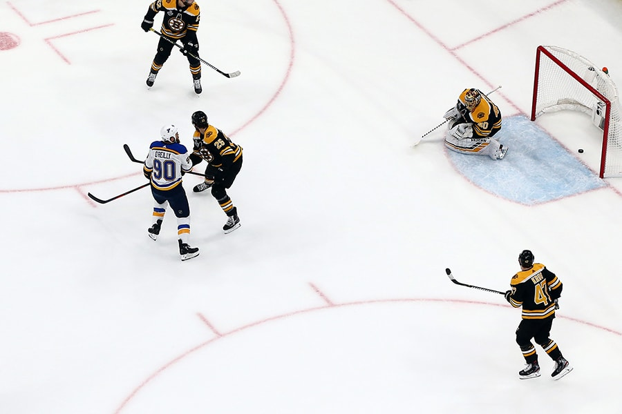 Ryan O'Reilly of the St. Louis Blues scores a first period goal against the Boston Bruins in Game 7 of the 2019 NHL Stanley Cup Final at TD Garden on June 12, 2019 in Boston, Massachusetts. (Photo by Adam Glanzman/Getty Images)