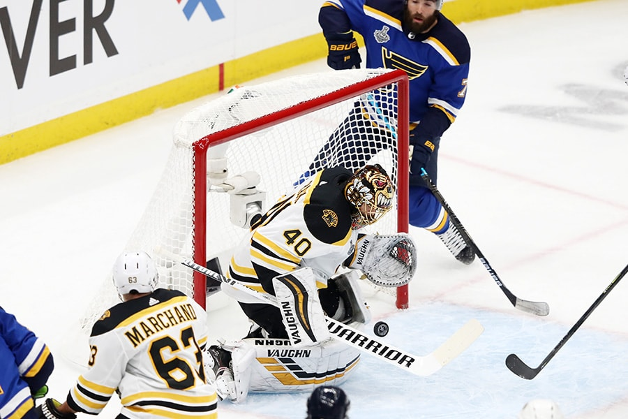 Tuukka Rask of the Boston Bruins stops a shot against the St. Louis Blues during the first period in Game 3 of the 2019 NHL Stanley Cup Final at Enterprise Center on June 01, 2019 in St Louis, Missouri. (Photo by Jamie Squire/Getty Images)