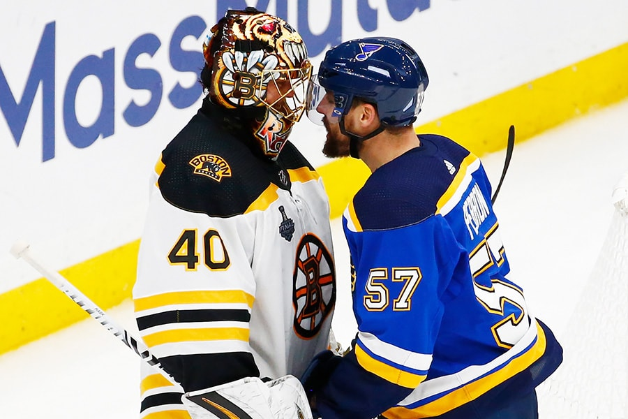 Tuukka Rask of the Boston Bruins and David Perron of the St. Louis Blues exchange words during the second period in Game 3 of the 2019 NHL Stanley Cup Final at Enterprise Center on June 01, 2019 in St Louis, Missouri. (Photo by Dilip Vishwanat/Getty Images)