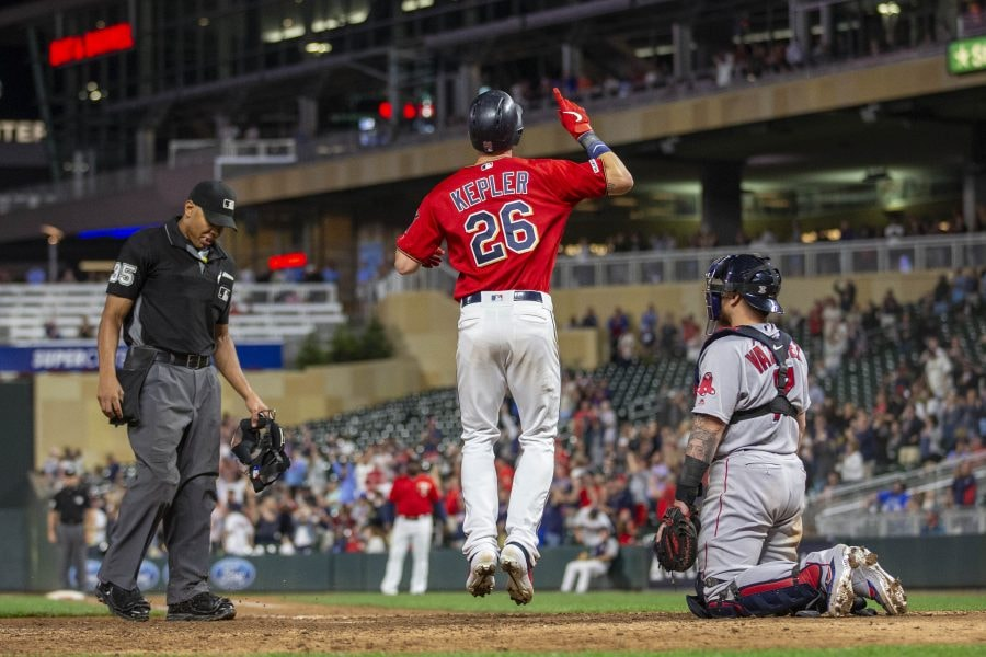 Jun 18, 2019; Minneapolis, MN: Minnesota Twins right fielder Max Kepler celebrates after hitting a home run in the thirteenth inning against the Boston Red Sox at Target Field. (Jesse Johnson-USA TODAY Sports)