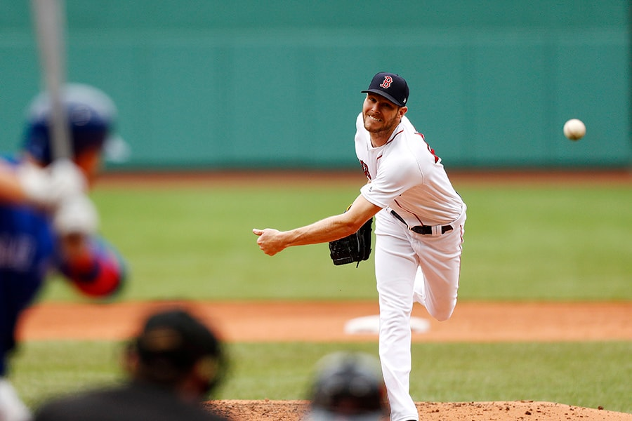 BOSTON, MASSACHUSETTS - JULY 18: Starting pitcher Chris Sale of the Boston Red Sox pitches at the top of the third inning of the game against the Toronto Blue Jays at Fenway Park on July 18, 2019 in Boston, Massachusetts. (Photo by Omar Rawlings/Getty Images)