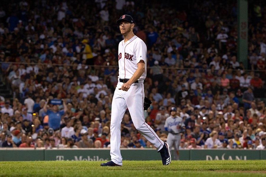 Chris Sale of the Boston Red Sox exits the game against the Los Angeles Dodgers during the fifth inning at Fenway Park on July 13, 2019 in Boston, Massachusetts. (Photo by Rich Gagnon/Getty Images)