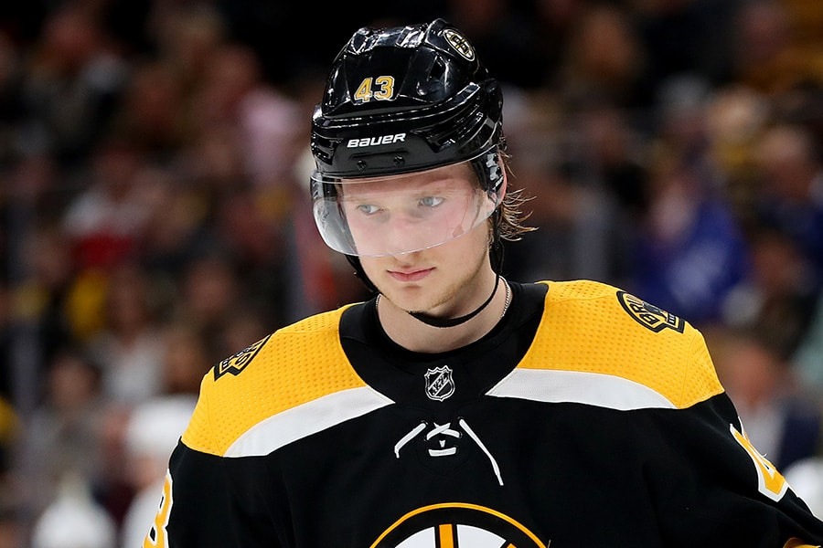 Danton Heinen of the Boston Bruins looks on during the second period of Game 5 of the Eastern Conference First Round against the Toronto Maple Leafs during the 2019 NHL Stanley Cup Playoffs at TD Garden on April 19, 2019 in Boston, Massachusetts. (Photo by Maddie Meyer/Getty Images)