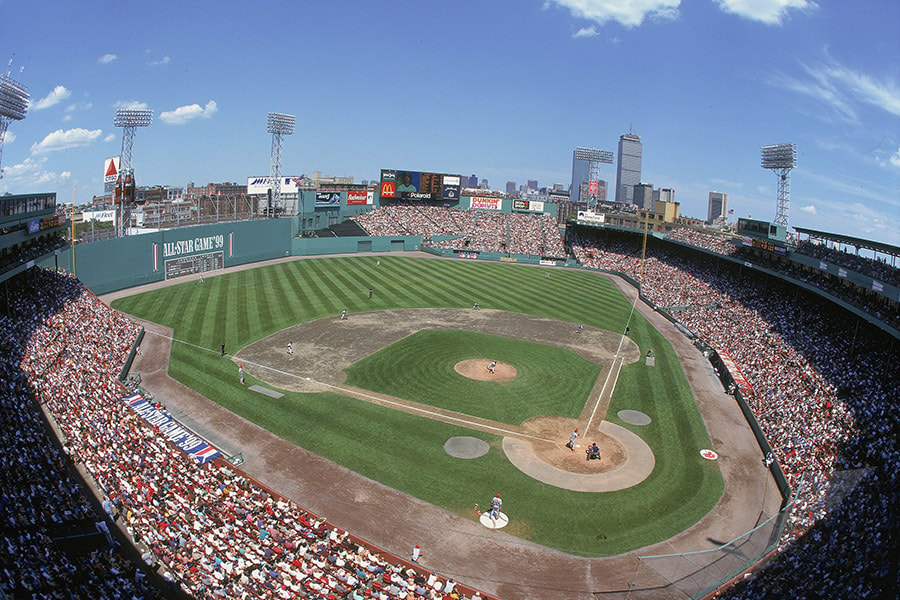 A general view of the baseball diamond taken during the All-Star Game at Fenway Park on June 20,1999 in Boston, Massachusetts. (Photo by: Al Bello/Getty Images)