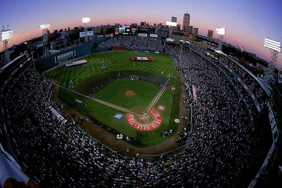 July 12, 1999: An aerial view of the Fenway Park at dusk taken during the 1999 MLB All-Star Game between the National League Team and the American League Team at Fenway Park in Boston, Massachusetts. The American League Team defeated the National League Team 4-1. (Al Bello/Allsport)