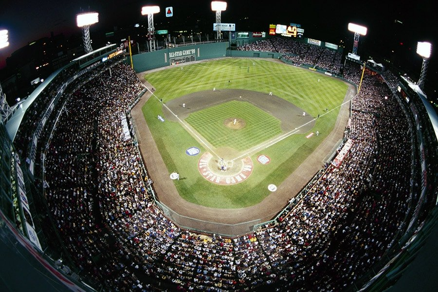 Aerial view of Fenway Park during the 70th MLB All-Star Game on July 13, 1999 in Boston, Massachusetts. (Photo by Al Bello/Getty Images)