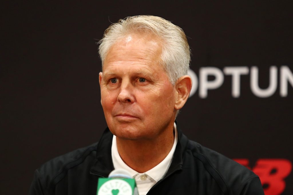 BOSTON, MASSACHUSETTS - JULY 17: Celtics President of Basketball Operations Danny Ainge reacts during a press conference introducing Kemba Walker (not pictured) and Enes Kanter (not pictured) at the Auerbach Center at New Balance World Headquarters on July 17, 2019 in Boston, Massachusetts. (Photo by Tim Bradbury/Getty Images)