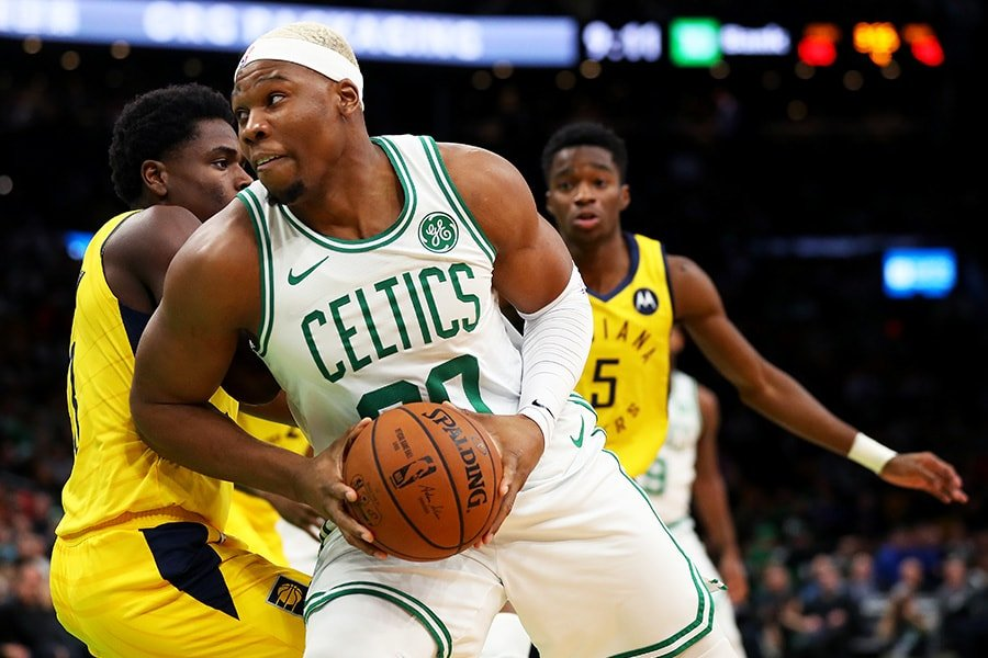 Guerschon Yabusele of the Boston Celtics drives towards the basket during the second half of the game against the Indiana Pacers at TD Garden on January 09, 2019 in Boston, Massachusetts. The Celtics defeat the Pacers 135-108. (Photo by Maddie Meyer/Getty Images)