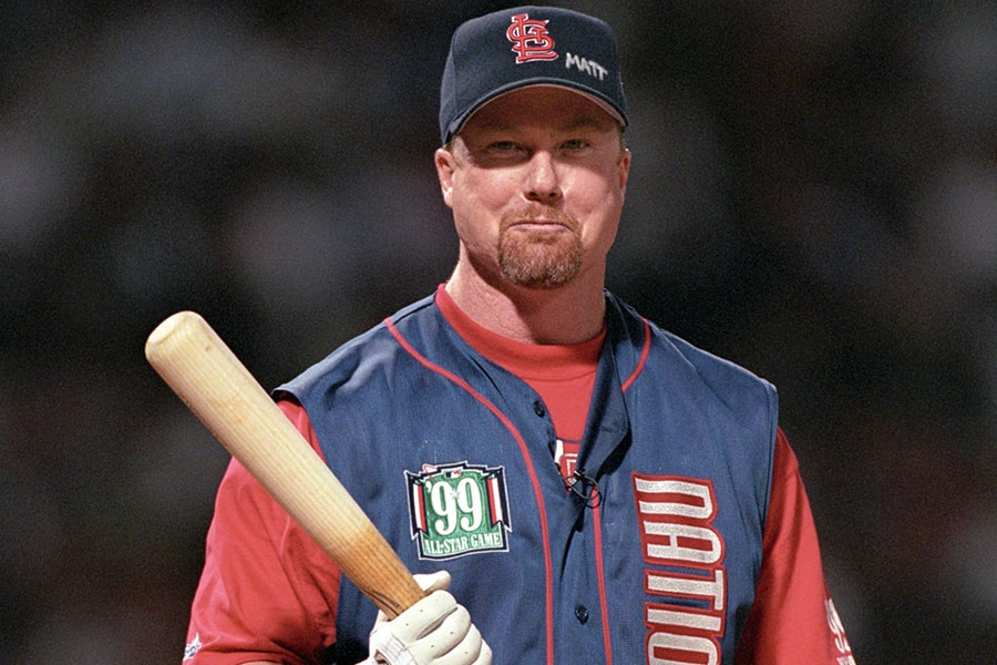 Mark McGwire participates in the 1999 All -Star Game Home Run Derby at Fenway Park on July 12, 1999 in Boston, Massachusetts. (Photo by Brian Bahr/Getty Images)